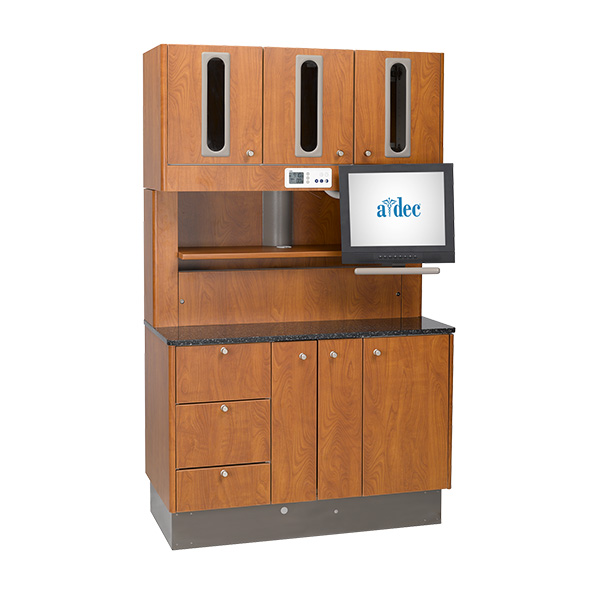 Preference dental cabinet treatment console with wild cherry laminate