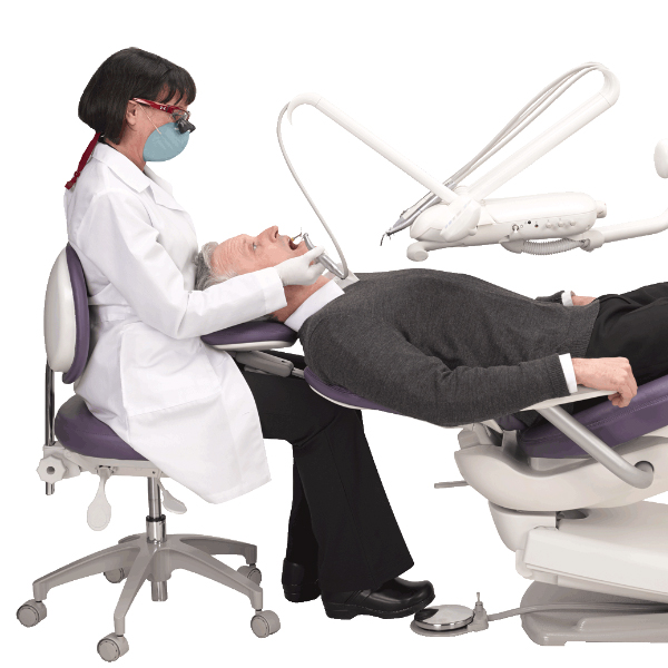 Dentist and patient with continental delivery system
