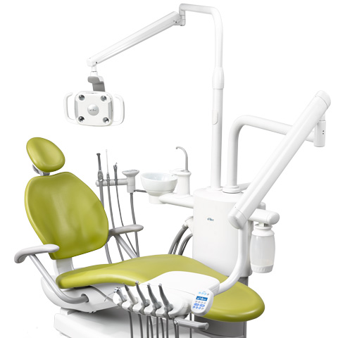 A-dec 300 dental light mounted on support center
