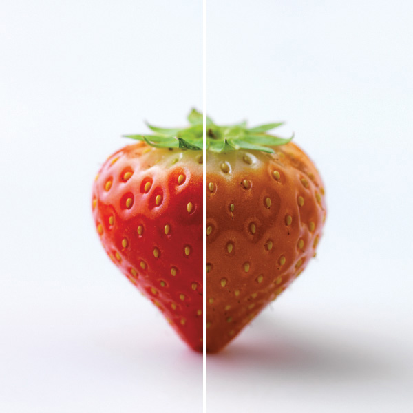 Strawberry showing high color rendering index (CRI) and low CRI