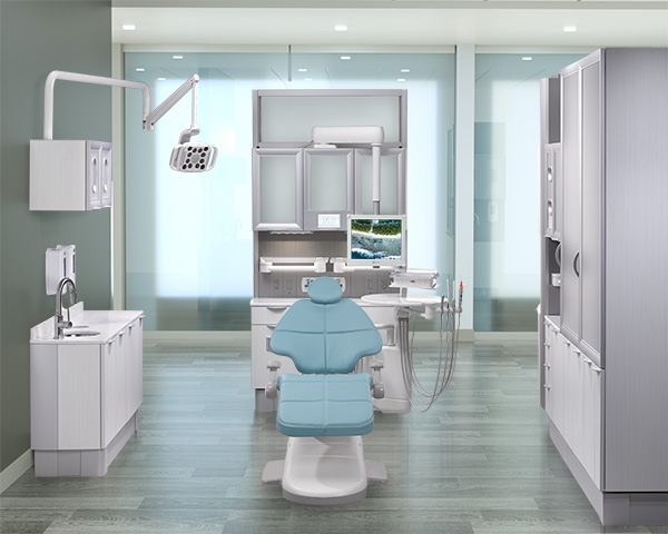 A-dec 500 with Cyan upholstery in A-dec Inspire dental cabinet operatory
