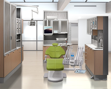 Parrot A-dec 500 dental chair with A-dec 500 delivery system and Inspire dental cabinets thumb