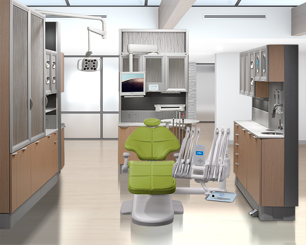 Parrot A-dec 500 dental chair with A-dec 500 delivery system and Inspire dental cabinets