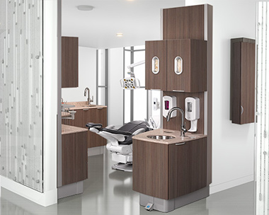 A-dec 500 dental chair with A-dec Inspire dental cabinets thumb