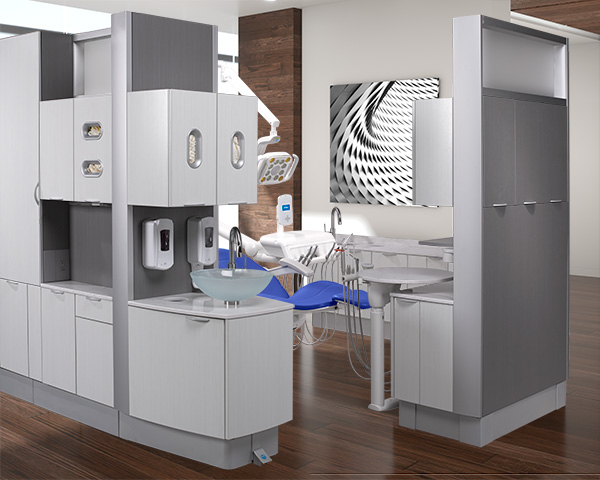 A-dec Inspire dental cabinets and A-dec 500 dental equipment
