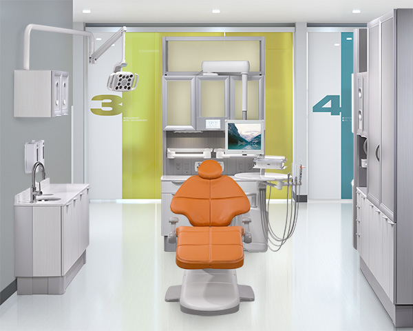 A-dec 500 dental chair with Apricot upholstery and A-dec Inspire dental cabinets