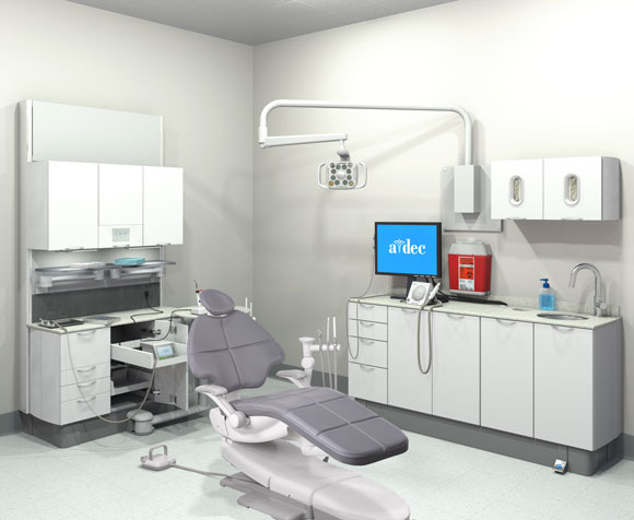A-dec dental operatory with no integration of clinical devices